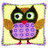"""Latch Hook Complete Cushion Cover Kit""""Young Owl"""" 43x43cm"""
