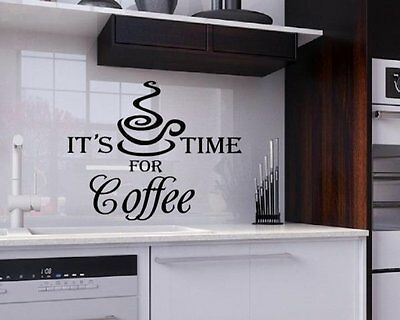 """Its Time For Coffee"" Vinyl Wall Quote Kitchen Sign Decal Sticker easy apply diy"