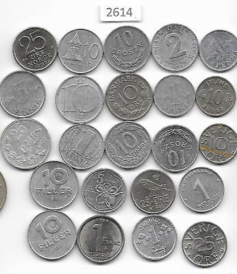 World x 23 Silver Coloured Small Coins