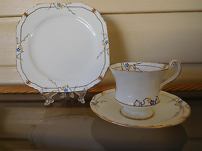 Paragon Blue & Yellow Floral Trio F886 Rd No.744170 England c.1913 -1919
