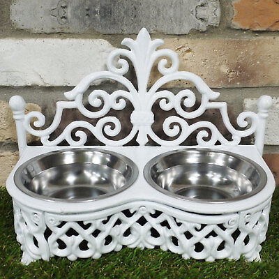 Dog/Cat Dish Cast Iron Holder With Stainless Steel Bowls Food Water Ornate White