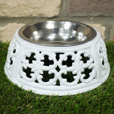 Dog/Cat Dish Cast Iron Holder Stainless Steel Bowl Food or Water White 20cm