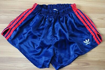 ADIDAS SHORTS VINTAGE NYLON DEEP BLUE RED SIZE L-M 80-90s MADE IN WEST GERMANY