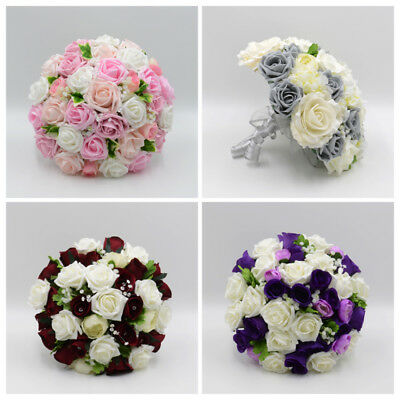Artificial Wedding Flowers Silk Brides Bouquet Posy in 66 Colours & Designs