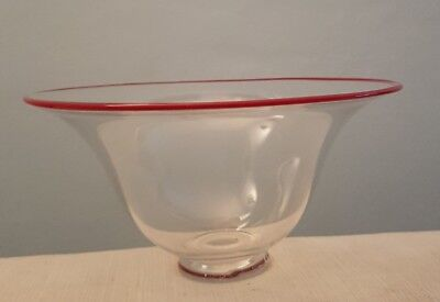 Scottish studio art glass bowl. Glam Works. Blown. Signed. Vasart, Monart.
