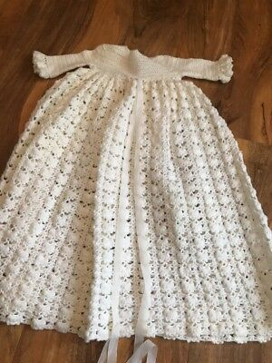 Vintage 1970s Baby Girl Hand Crocheted Christening Dress and 0 - 3 Mths