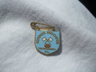 50s Very Hard To Find Toowoomba Rugby League Referees Association Enamel Badge.