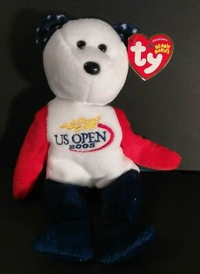 Smash the Bear - US OPEN 2005 - Ty Beanie Baby - MWMT - Fast Shipping