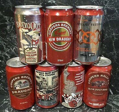 Coopers Draught & New Draught 375ml. Commemorative Beer Cans x 7 Different