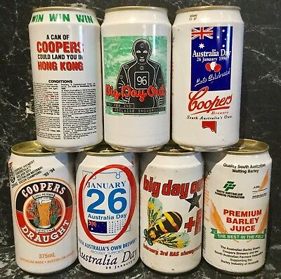 Coopers Draught. 375ml. Commemorative Beer Cans x 7 Different