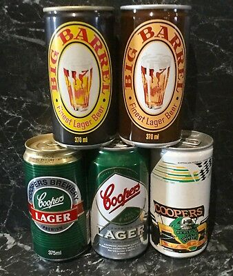 Coopers Lager , Big Barrel & Grand Prix. 375ml.Collector Beer Cans x 5 Different