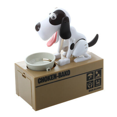 Robotic Dog Puppy Hungry Hound Bank Coin Eating Save Money Box Collection G M8F2