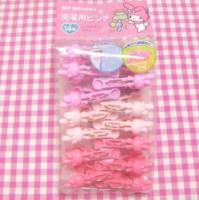 Sanrio My Melody 3 Colors Pink Laundry Pinch Clip 14 Clips / Japan 2016
