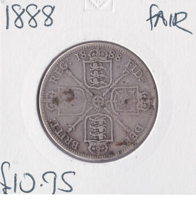 1888 Silver British Florin Queen Victoria Veil Head Fair Grade Coin
