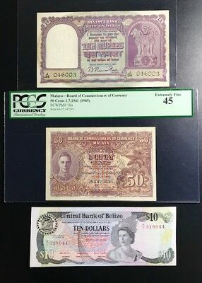 Banknote Collection Good Grades Pmg45 Rare Notes / No Reserve