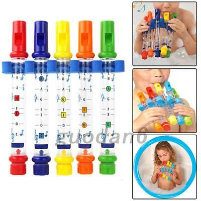 5x Water Flutes Whistles Music Sheets Musical Bath Time Toy Tub Tunes Songs Tool