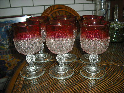 Mint Condition Large Indiana Glass Diamond Point Ruby Flash Glasses