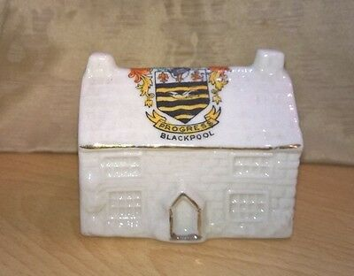 Vintage Crested Ware Country Cottage 'Progress' Blackpool - Possibly German
