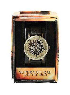 Supernatural Anti-Possession Symbol Black Strap Watch In New In Collectors Box!