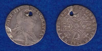 Great Britain Silver Shilling 1787 George Iii  ---  Olvk