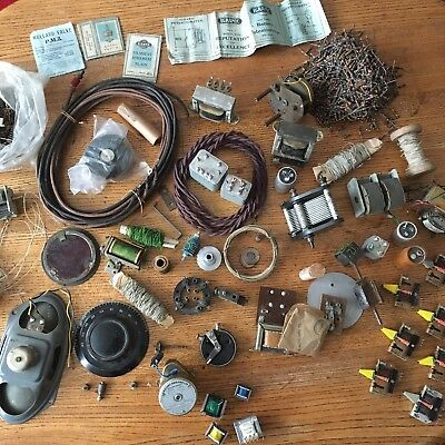 Joblot Early Vintage Antique Radio Parts - Dials Resistors Transformers Switches