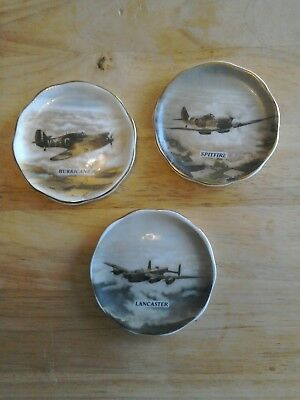 Staffordshire fine bone china WW 2 coasters. Lancaster, Hurricane and Spitfire