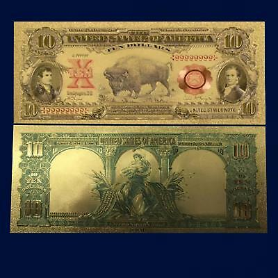 1901 $10 24K Gold Foil Novelty Dollar Bill Us Currency Money / Currency Sleeve