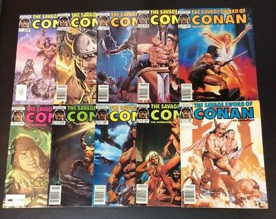 Savage Sword Of Conan The Barbarian #136-145 Magazine Lot Marvel Jusko Chan 1987