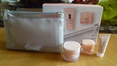 CLINIQUE HYDRATION 3 PART GIFT SET with silver bag includes all about eyes/moist