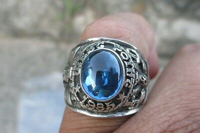 US ARMY West Point Rings 1985 , 925 Sterling Silver , Sapphire , size 7-13