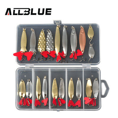 Fishing Lures ALLBLUE Spoon Baits Tackle Bass Pike Spoons Metal Hooks Lure /lot