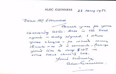 Alec Guinness. Authentic autograph. 1986 signed note on his personal stationary.