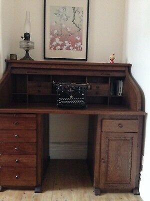 Edwardian style Roll Top Tambour Desk