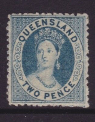 QUEENSLAND RARE 1868 2d Blue QV CHALON STAR WMK MINT/MUH SG 61 CV$140+ (DJ64)