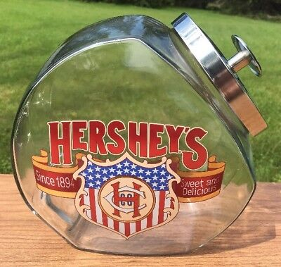 Vintage Hershey's Sweet and Delicious Glass Candy Jar w/Lid-Counter Canister