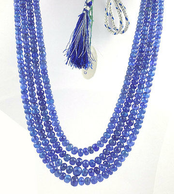 Wholesale 4 Strands Natural Tanzanite Necklace Rondelle Faceted Gemstone Beads.