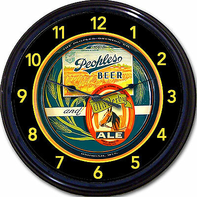 Peoples Beer & Old Derby Ale Beer Oshkosh WI Tray Wall Clock Peoples Brewing Co