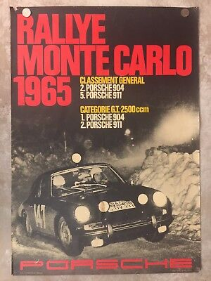 1965 Porsche 911 Monte Carlo Rally Victory Showroom Advertising Poster RARE!! VG