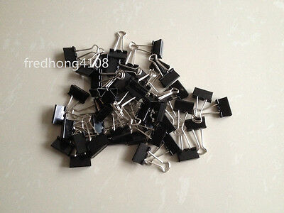 48pcs Black Metal Binder Clip Paper Clips For Office School 25mm