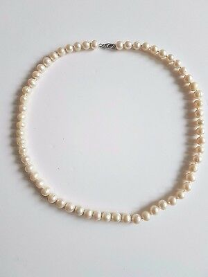 "17.5"" Genuine White Fresh Water Princess Pearl Necklace 925 Sterling Silver8-9 m"