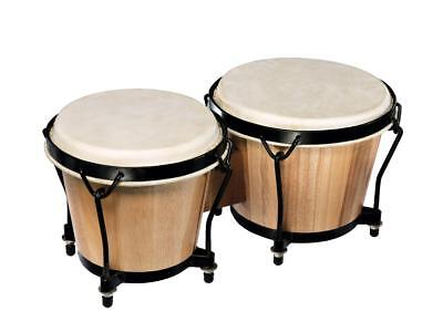 "Bongo Set Tunable 6"" & 7"" bongos with natural hide for an authentic sound"
