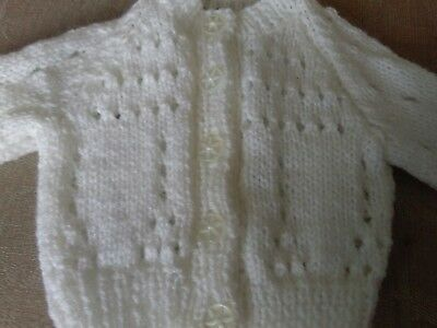 White hand knitted baby cardigan - new -  newborn size
