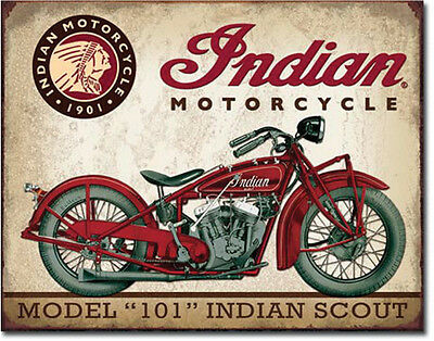 """Vintage Indian Motorcycle Model """"101"""" Indian Scout Metal Sign - NEW"""