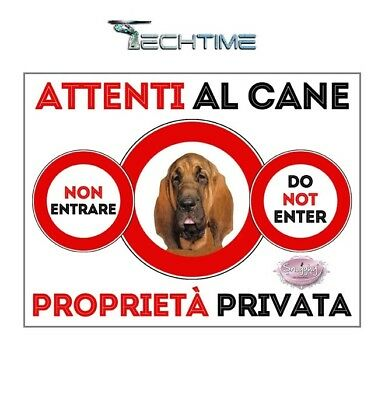 Cartello Blood Hound Attenti Al Cane In Ferro Zincato Con Calamite
