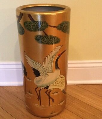 Vintage Porcelain Gold And Bird Asian Style Umbrella Stand