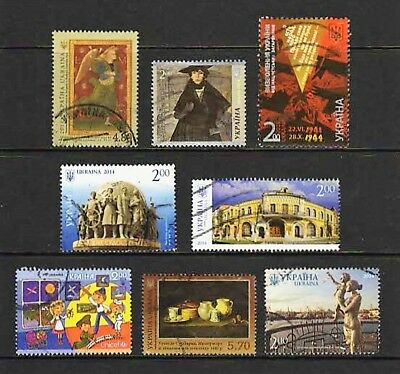 Ukraine -- 8 different used commemoratives from 2014 -- catalog $8.95