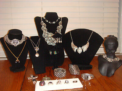 Vintage estate jewelry sterling silver 925 earring ring necklace rhinestone lot