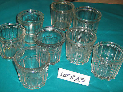 Lot De 8 Anciens Pots A Confiture En Verre Epais  Lot N°13