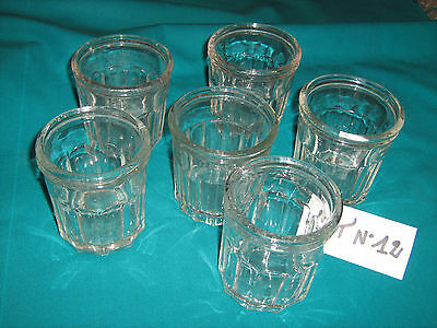 Lot De 6 Anciens Pots A Confiture En Verre Epais  Lot N°12