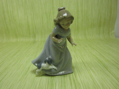 NAO by Lladro Porcelain Figurine Girl Running with Dog